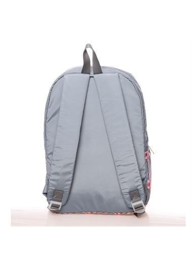 Kaukko Kaukko Soft Floral Gri Okul ve Günlük Sırt Çantası Renkli